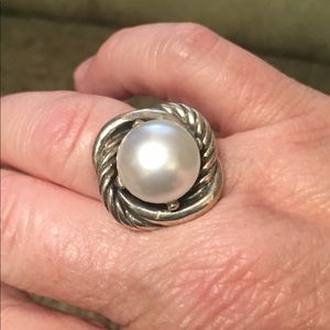 Sterling silver faux pearl ring